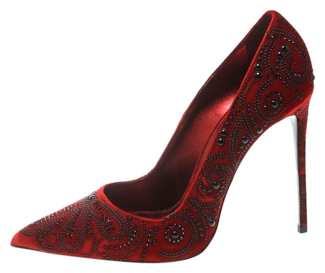Le Silla Red Crystal Embellished Velvet Pointed Pumps Size US 9 Regular (M, B) Le Silla Red Crystal Embellished Velvet Pointed Pumps Size US 9 Regular (M, B) Image 1