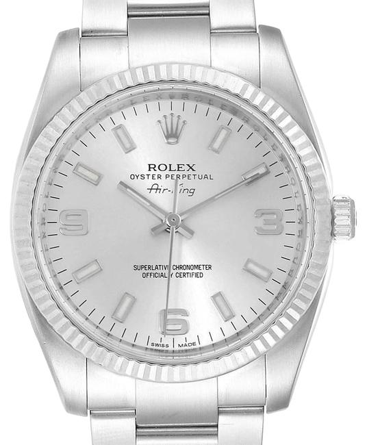 Rolex Silver Air King Steel White Gold Fluted Bezel Mens 114234 Watch Rolex Silver Air King Steel White Gold Fluted Bezel Mens 114234 Watch Image 1