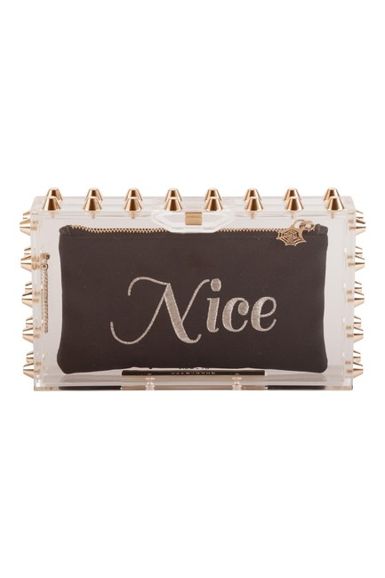 Charlotte Olympia Transparent Studded Naughty and Nice Perspex Clutch Charlotte Olympia Transparent Studded Naughty and Nice Perspex Clutch Image 1