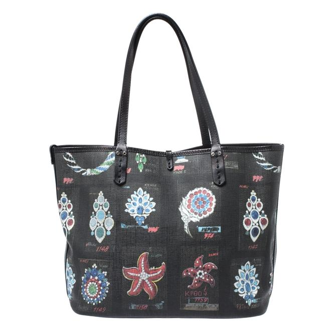 BVLGARI Printed Black Canvas with Leather Trim Tote BVLGARI Printed Black Canvas with Leather Trim Tote Image 1