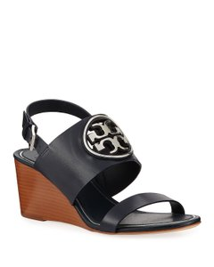 Tory Burch Metal Leather Size 8 navy Wedges
