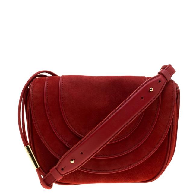 Diane von Furstenberg Crossbody Bullseye Red Nubuck Leather Shoulder Bag Diane von Furstenberg Crossbody Bullseye Red Nubuck Leather Shoulder Bag Image 1