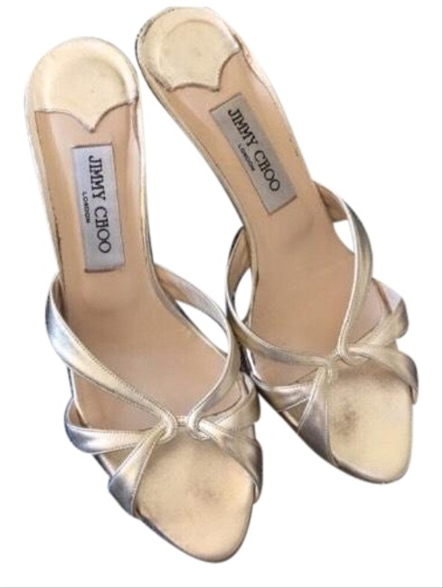 Item - Gold Heeled Sandals Pumps Size US 8 Regular (M, B)