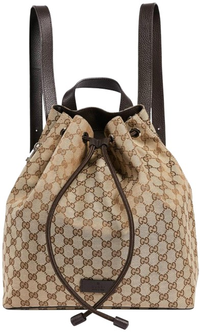 Gucci Tote Backpack New New Logo Beige Brown Canvas Leather Cross Body Bag Gucci Tote Backpack New New Logo Beige Brown Canvas Leather Cross Body Bag Image 1