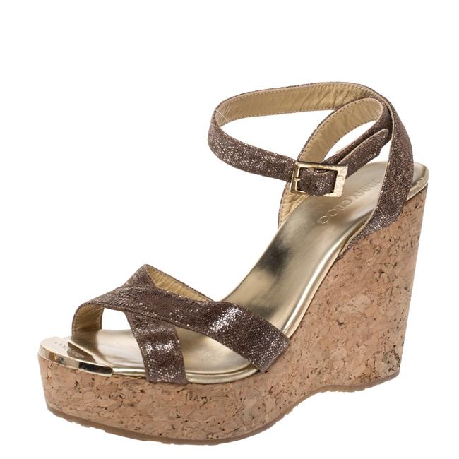Jimmy Choo Gold Shimmer Lame Fabric Papyrus Cork Wedge Ankle Strap 37.5 Sandals Size US 7.5 Regular (M, B) Jimmy Choo Gold Shimmer Lame Fabric Papyrus Cork Wedge Ankle Strap 37.5 Sandals Size US 7.5 Regular (M, B) Image 1