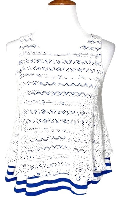 Anthropologie White Blue Layered Crochet Sleeveless Tank Top/Cami Size 6 (S) Anthropologie White Blue Layered Crochet Sleeveless Tank Top/Cami Size 6 (S) Image 1