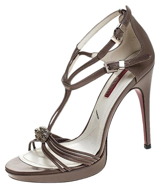 Cesare Paciotti Brown Leather Embellished Strappy Sandals Size US 5.5 Regular (M, B) Cesare Paciotti Brown Leather Embellished Strappy Sandals Size US 5.5 Regular (M, B) Image 1