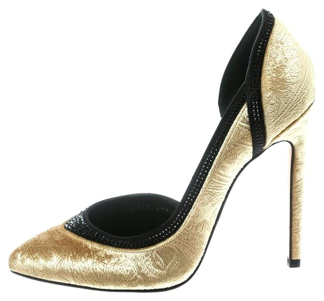 Gina Peters Gold Print Velvet Crystal Studded D'orsay Pointed Pumps Size US 8.5 Regular (M, B) Gina Peters Gold Print Velvet Crystal Studded D'orsay Pointed Pumps Size US 8.5 Regular (M, B) Image 1