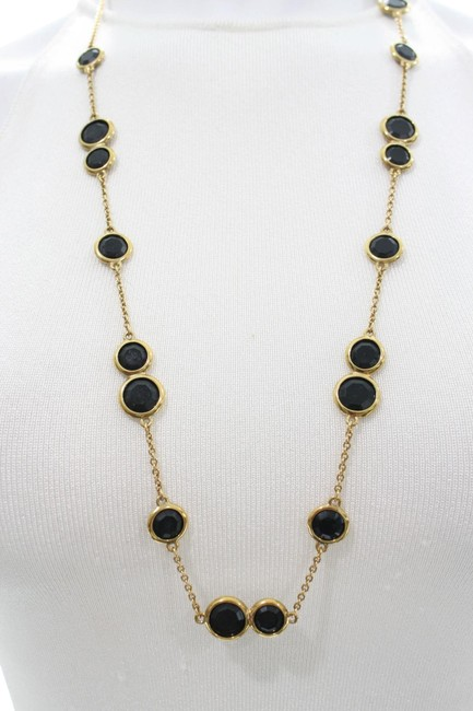 Item - Black 12k Gold-plated Crystal Stone Scatter Necklace