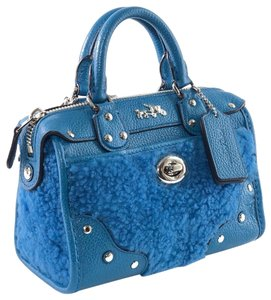Coach Leather Crossbody Shearling Satchel in Peacock