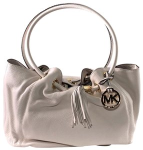 Michael Kors Shoulder Leather Carryall Tote in Optic White
