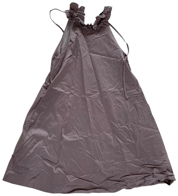 Item - Brown Taupe Ruffled Large with Tie Mid-length Cocktail Dress Size 12 (L)