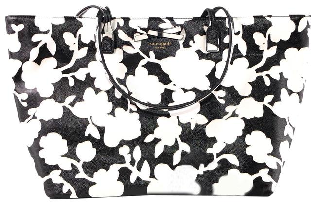 Item - Sawyer Street Large Margareta Shoulder Black / White Lambskin Leather Tote