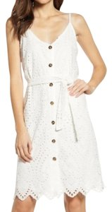 Bishop + Young short dress White Tie Waist Eyelet Spring Summer Button Front on Tradesy