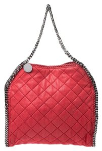 Stella McCartney Leather Quilted Faux Leather Tote in Red