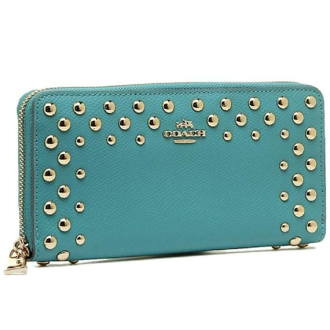 Item - Cadet Blue Studded Crossgrain Leather Accordion Wallet