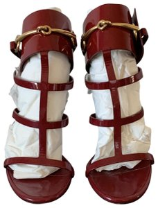 Gucci Heels Patent Leather Horsebit Raspberry/Red Sandals