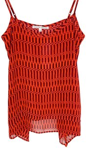 Collective Concepts Spaghetti Strap Tribal Print Tent Blouse Flowy Loose Fit Top Red
