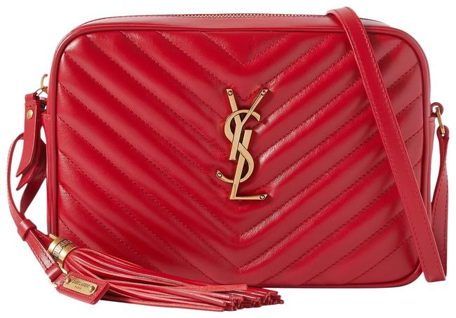 Saint Laurent Monogram Lou Camera Ysl In Quilted Rouge Eros Red Raffia and Leather Cross Body Bag Saint Laurent Monogram Lou Camera Ysl In Quilted Rouge Eros Red Raffia and Leather Cross Body Bag Image 1