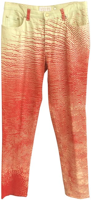 Item - Orange Yellow W Tiger Print Jeans W/ Clear Square Shimmer Pants Size 8 (M, 29, 30)