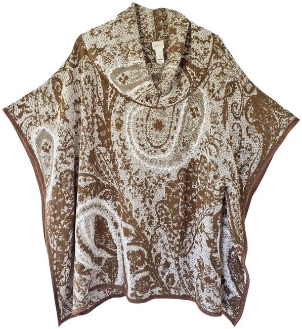 Item - Brown and White Knit Poncho/Cape Size 14 (L)