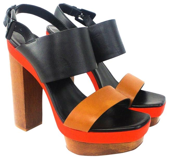 Item - Black Red Brown Ettie Colorblock Leather Sandals Platforms Size EU 37.5 (Approx. US 7.5) Regular (M, B)
