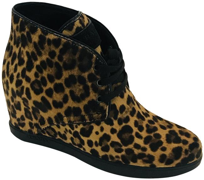 Item - Brown Leopard Print Pony Hair Wedge Ankle Boots/Booties Size EU 36.5 (Approx. US 6.5) Regular (M, B)