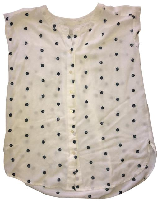 Item - White with Navy Embroidered Dots Tunic Size 2 (XS)