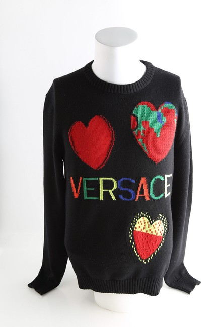 Item - Black Crew Neck Heart Wool Long Sleeves Sweater Shirt