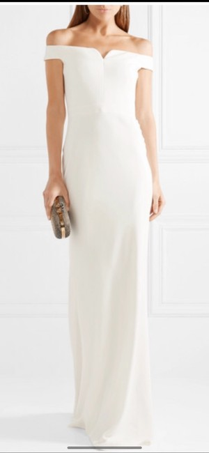 Item - White Off The Shoulder Gown Modern Wedding Dress Size 6 (S)