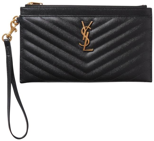 Item - Clutch New Ysl Quilted Black Gold Leather Wristlet