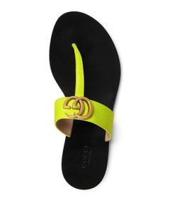 Gucci Loafer Mule Slide Flat Marmont Yellow Sandals