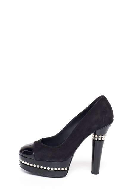 Item - Black Suede Platforms with Pearl Accents Pumps Size EU 37.5 (Approx. US 7.5) Regular (M, B)