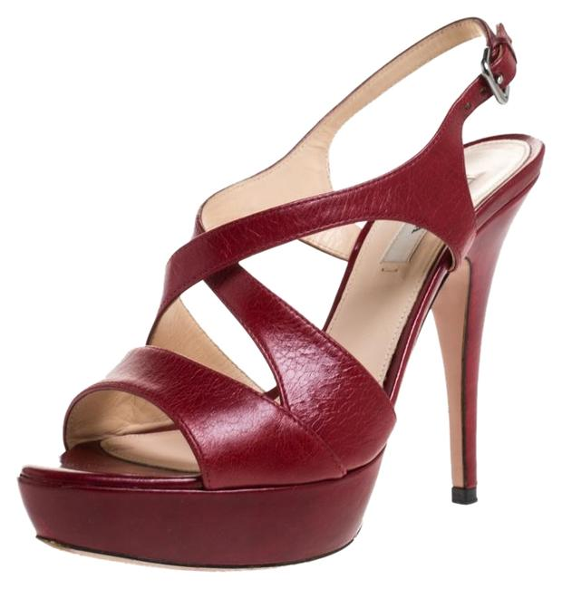 Item - Red Leather Strappy Platform Sandals Size US 6.5 Regular (M, B)