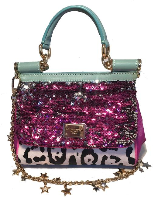 Item - Dolce and Gabbana Sequin Zebra Calf Hair Small Miss Sicily Pink Leather Baguette
