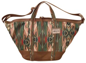 Isabella Fiore Beach Horizon Canvas Leather Handbag Brown Cream Red Pink White Leather Trim Kaleidoscopic Design Imported Beach Satchel in Green