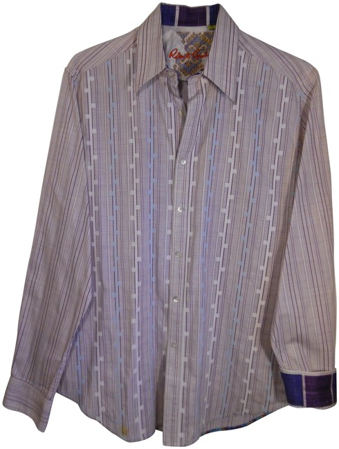 Item - White Purple Men's Embroidered Collared Long Sleeve Shirt Button-down Top Size 12 (L)