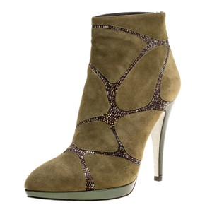 Rene Caovilla Suede Crystal Embellished Green Boots