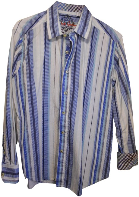 Item - White Blue Men's Collared Long Sleeve Shirt Button-down Top Size 12 (L)