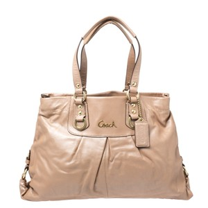 Coach Fabric Leather Satchel in Beige