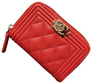Chanel New!! Chanel boy quilted card case/coin purse