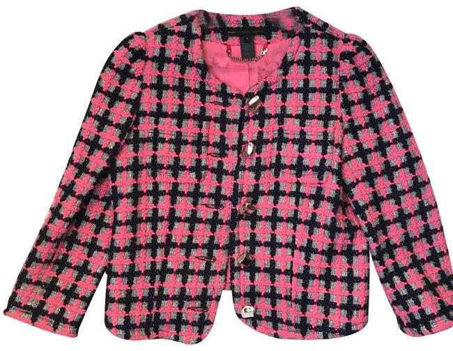 Item - Pink and Navy Blue Chanel-inspired Hopscotch Tweed Jacket Blazer Size 4 (S)
