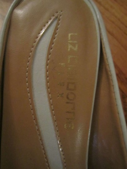 Liz Claiborne Slides Kitten Heels Leather Tan/Beige/Neutral Mules