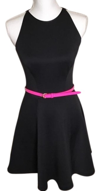 Item - Pink Black Preeny Belted Full Skater Short Night Out Dress Size 4 (S)