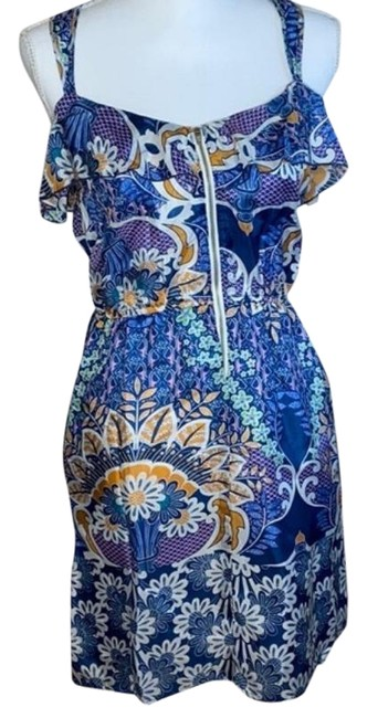 Item - White Blue Racerback Floral Printed Silk Short Casual Dress Size 4 (S)
