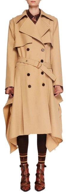 Item - Khaki Double-breasted Belt Drape-side Wool Trench Coat Jacket Size 6 (S)