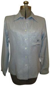 Laura Biagiotti Herringbone Metallic Vintage Oneam001 Button Down Shirt gray & silver