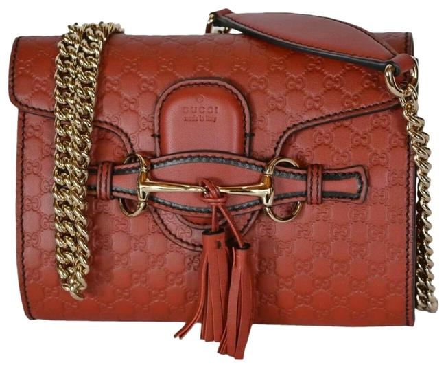 Gucci Emily Crossbody Guccissima Red Leather Baguette Gucci Emily Crossbody Guccissima Red Leather Baguette Image 1