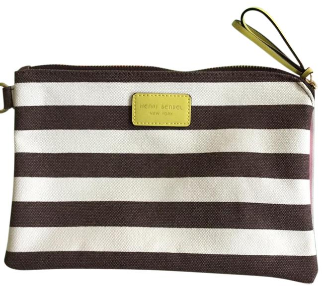 Item - Creme and Brown Stripes Canvas Wristlet