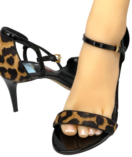 Item - Brown/Black Animal Prints Open-toe Heels Formal Shoes Size US 8.5 Regular (M, B)
